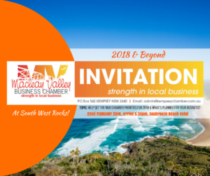 """Macleay Valley Business Chamber """"2018 & Beyond"""" Dinner @ Seabreeze Beach Hotel 