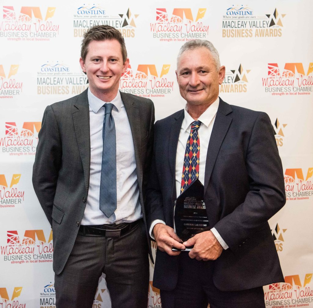Business Leader Award: Sponsor: Remi Barley - Southern Cross Austereo, Recipient: Gavan Landini - Macleay Options Inc