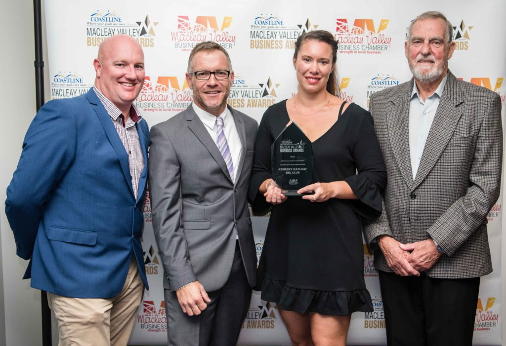 Excellence in Innovation Award: Sponsor: Shane Gill -ETC (2nd from left) Recipient: Paul McGregor, Bianca Hopper-Buchland, Daniel Abela - Kempsey Macleay RSL Club