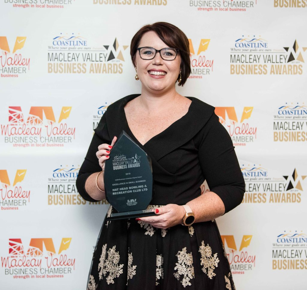 Excellence in Small Business Award: Sponsor: Kirsty Wills - Coastline Credit Union. Recipient: Hat Head Bowling Club (absent)