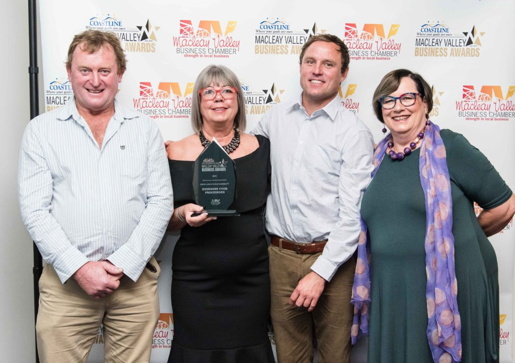 Excellence in Sustainability Award: Sponsor: Liz McPherson - Macleay Valley Business Chamber, Recipient: Paul Hardwood, Kerri Riggington, Jesse Everson - Eversons Food Processors