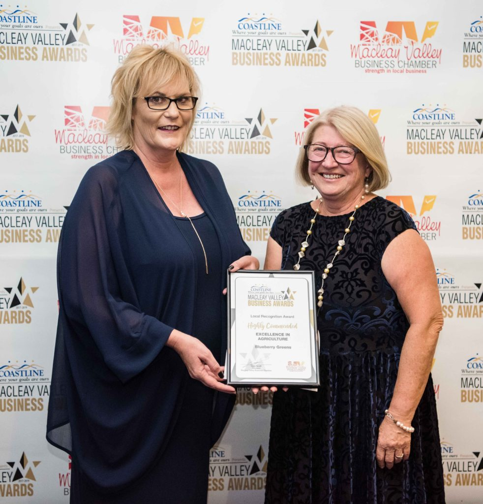 Highly Commended in Agriculture: Sponsor: Cathy Walsh, Recipient: Marilyn Breen (on behalf of) - Blueberry Greens