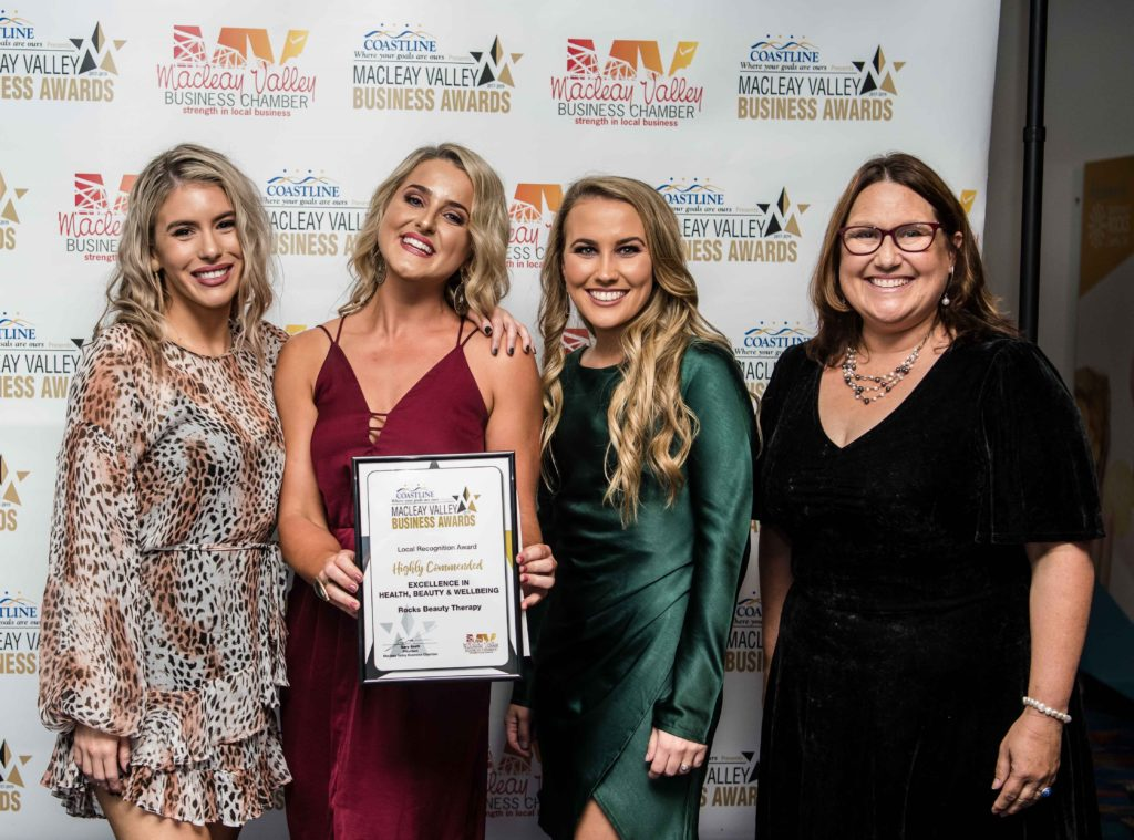 Highy Commended in Health, Beauty & Wellbeing: Sponsor: Tania Powick - Coastal Wealth Directions, Recipient: Taylor Currie, Sarah Ray, Olivia Bailey - Rocks Beauty Therapy