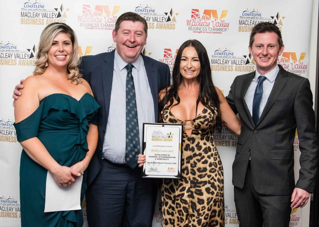 Highly Commended in Tourism, Accommodation and Hospitality: Sponsor: Remi Barley - Southern Cross Austereo. Recipient: Danielle Roshworth, David Cunningham, Karli Ford - South West Rocks Country Club