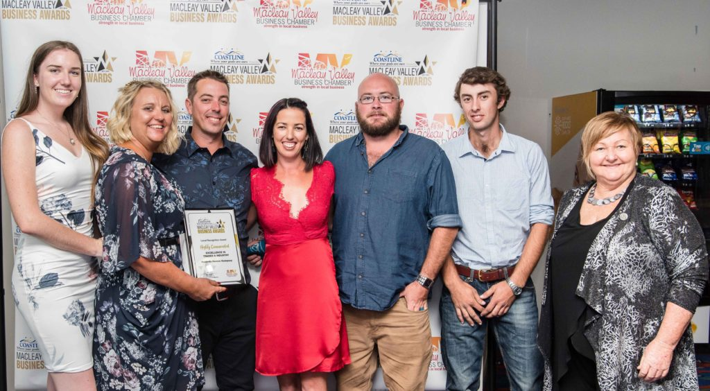 Highly Commended in Trades and Industry: Sponsor: Maura Luxford - TAFE NSW (far right). Recipient: Andrew Busch, Amanda Busch, Alisha Hitchins, Theo Clarke, Sierra Sanders, Michael Fotheringham - Hotondo Homes Kempsey