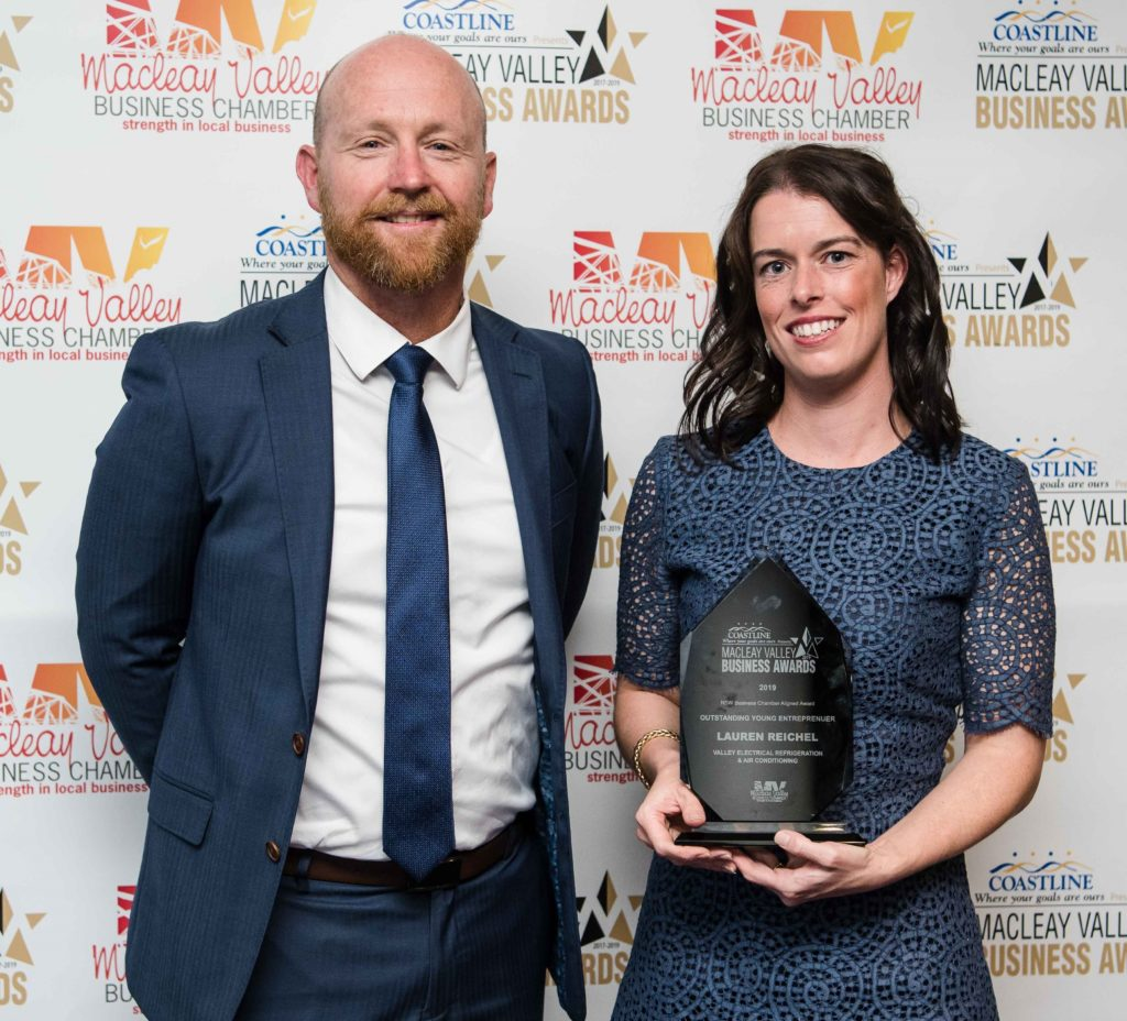 Outstanding Young Entrepreneur: Sponsor: Matt Ryan - Coastline Credit Union. Recipient: Lauren Reichel - Valley Electrical and Air Conditioning.