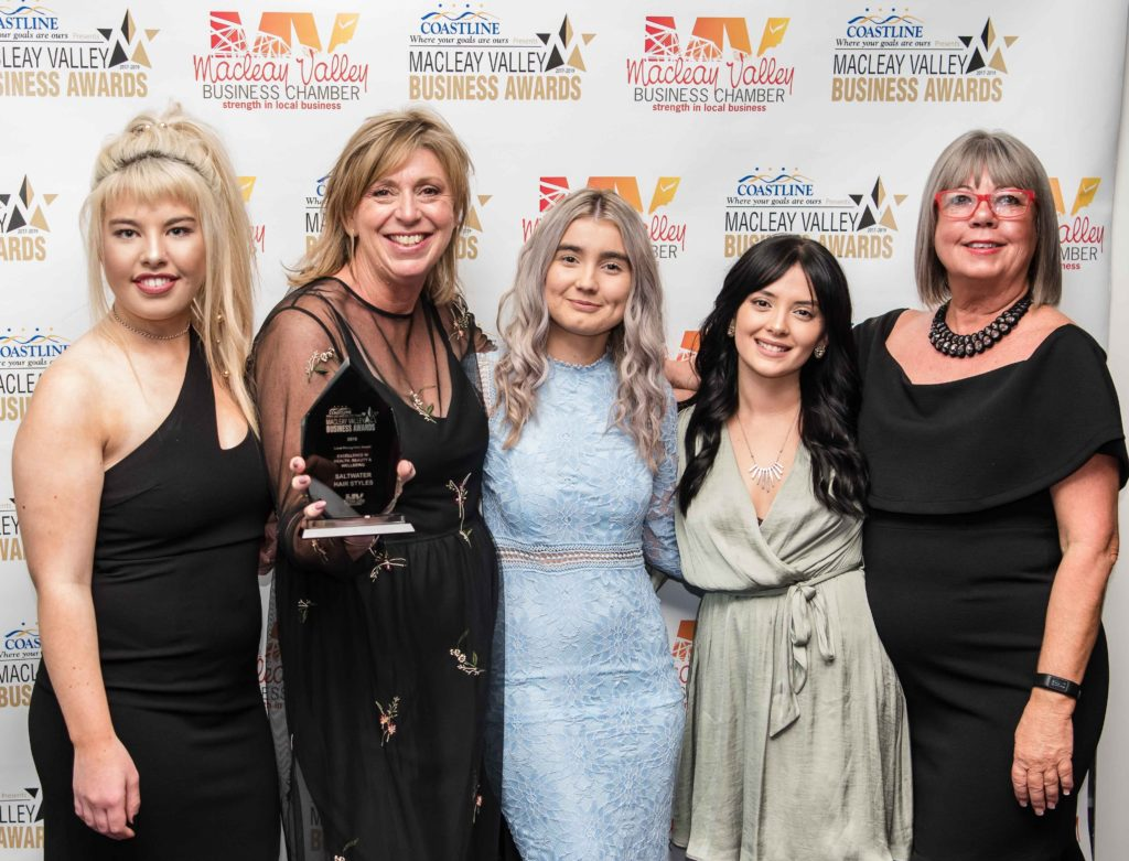 Excellence in Helath, Beauty & Wellbeing: Sponsor: Kerri Riddington - Eversons Food Processors, Recipient: Olivia Hawlans, Jo Cavanagh, Abby Sutherland, Jessi Barr - Saltwater Hair Styles