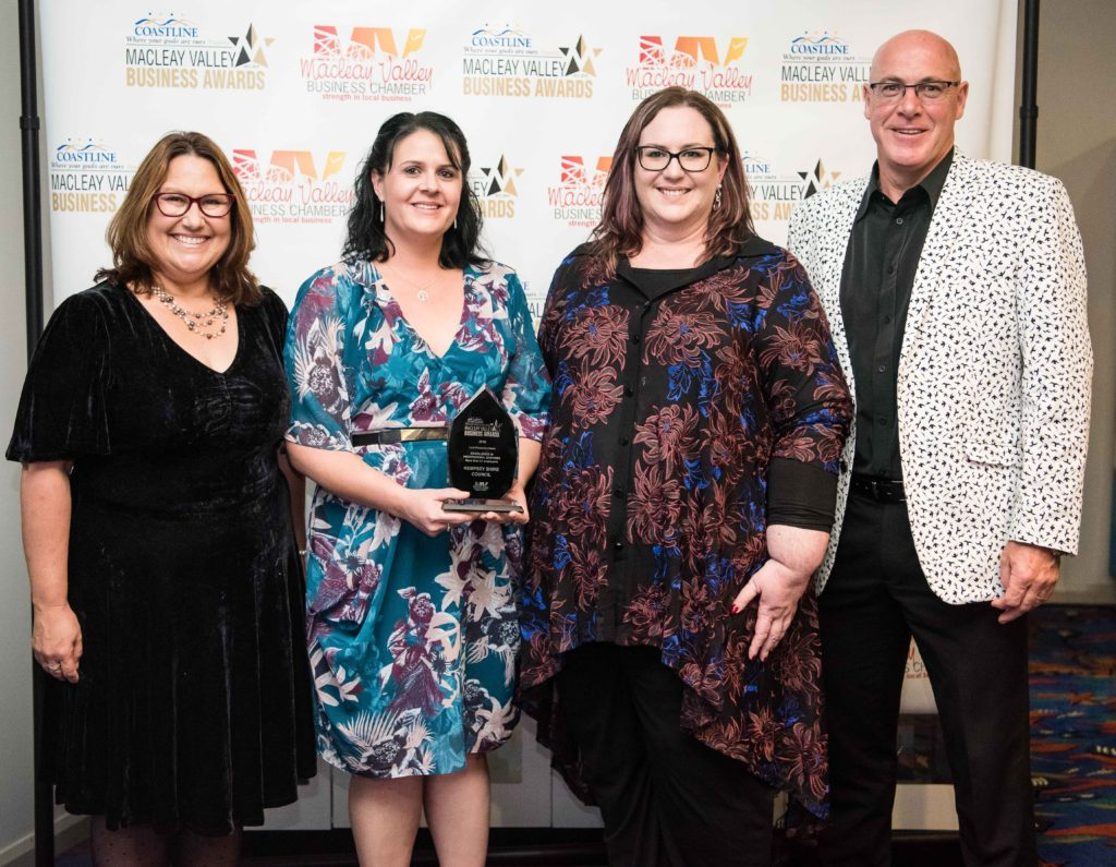Excellence in Professional Services more than 21 employees: Tania Powick - Macleay Valley Business Womens Network. Recipient: Renee Albert, Michelle Dark, Craig Milburn - Kempsey Shire Council.