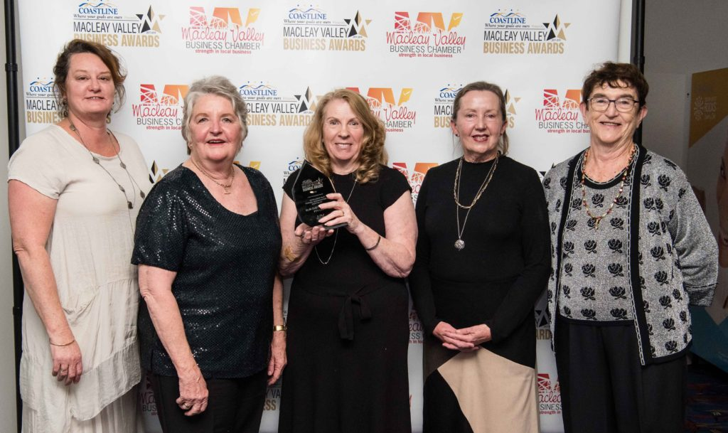 Excellence in Tourism, Accommodation and Hospitality: Sponsor: Betty Green - Macleay Options Inc. Recipient: Michele Atkinson, Joan Clarke, Marion Vanderveere, Vicky Williams - Slim Dusty Centre