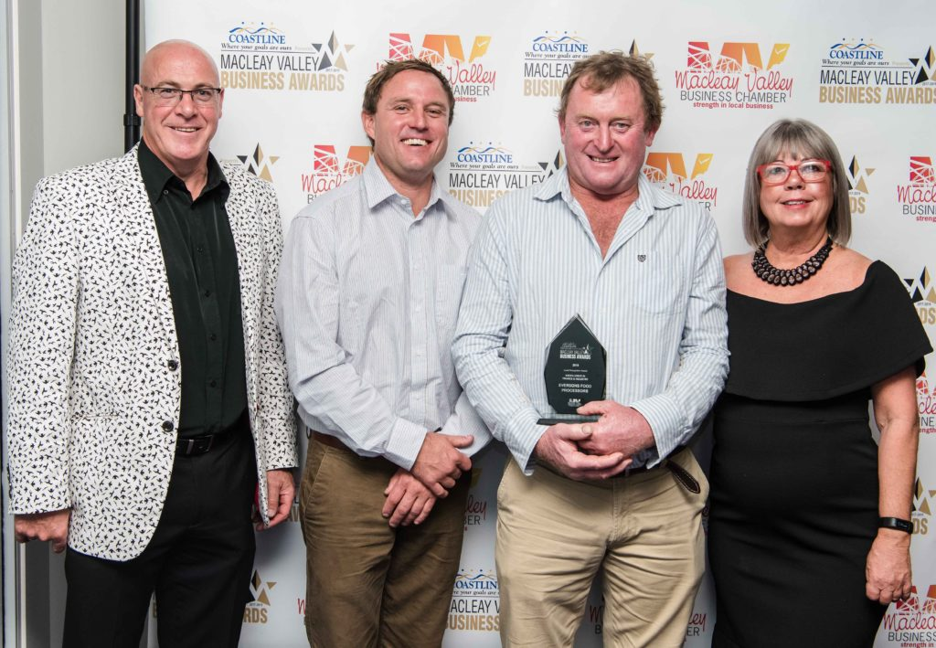 Excellence in Trades and Industry: Sponsor: Craig Miburn - Kempsey Shire Council (left). Recipient: Jesse Everson, Paul Hardwood, Kerri Riddington - Eversons Food Processors