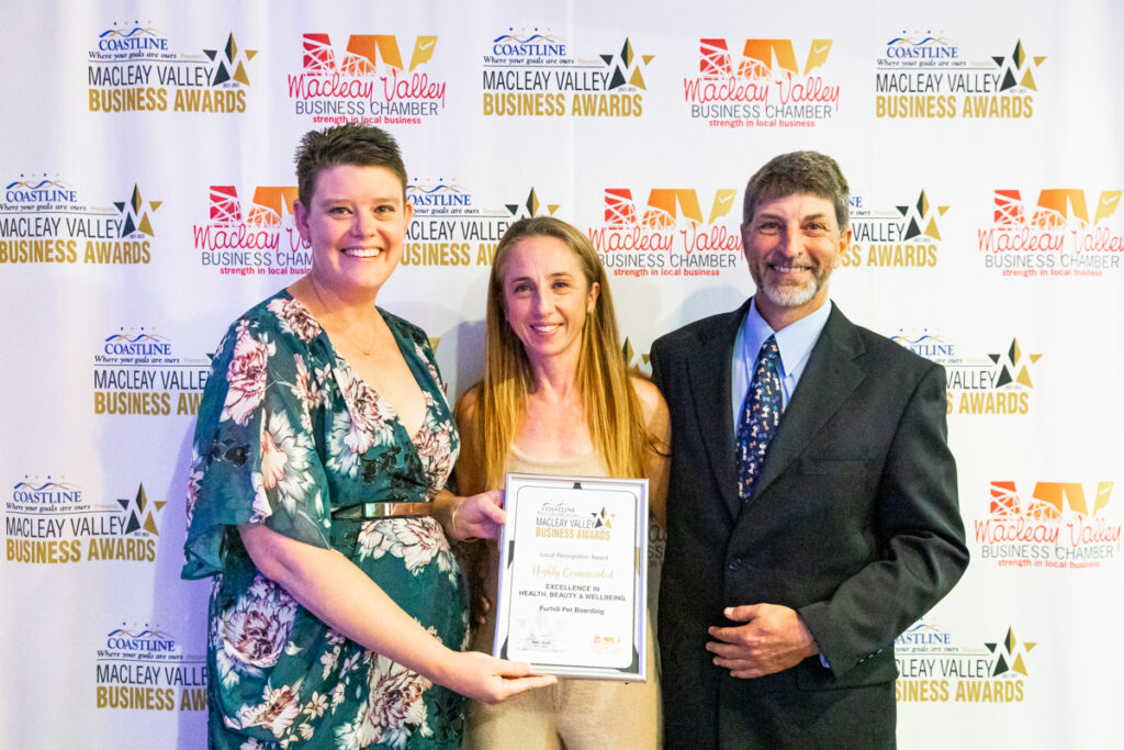 Highly Commended, EXCELLENCE IN HEALTH, BEAUTY AND WELLBEING: Furhill Pet Boarding. Award Presented by: Catherine O'Dell, Kempsey Toyota