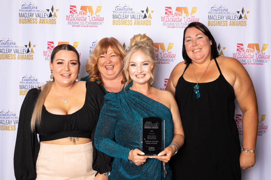 WINNER,EXCELLENCE IN HEALTH, BEAUTY AND WELLBEING: Mirror Mirror Hair Lounge. Award Presented by: Natalie Walsh, Creative Jane Graphic Design