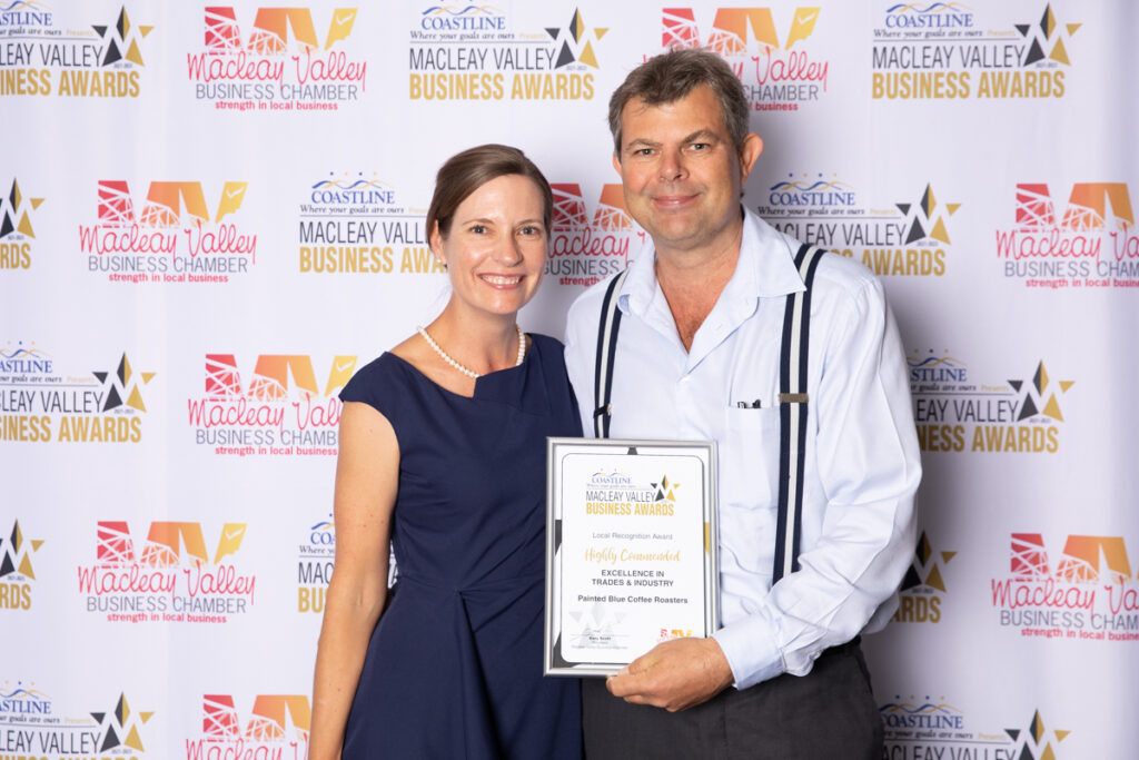 Highly Commended, EXCELLENCE IN TRADES & INDUSTRY: Painted Blue Coffee Roasters. Award Presented by: Stephen Mitchell, Kempsey Shire Council