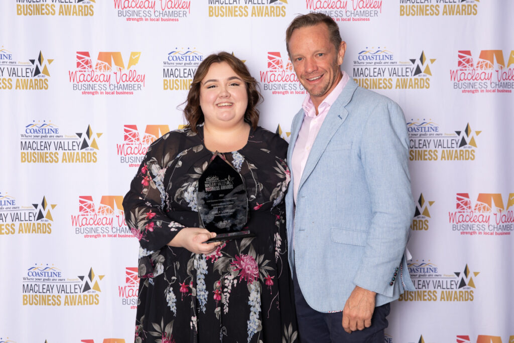 OUTSTANDING YOUNG BUSINESS LEADER: Emily Jade Loveday,Macleay Options. Award Presented by: David Gray,Elders Lifestyle Group