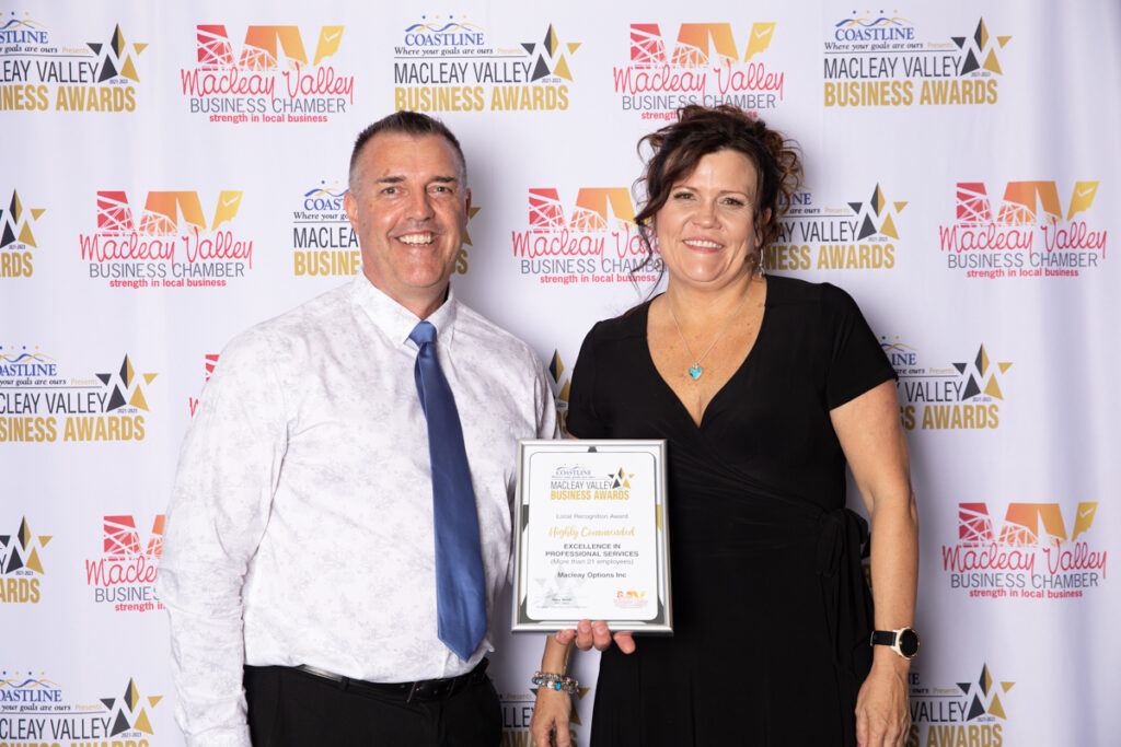 Highly Commended, EXCELLENCE IN PROFESSIONAL SERVICE (More than 21 employees): Macleay Options Inc. Award Presented by: Sue Fitzgerald, Macleay Argus