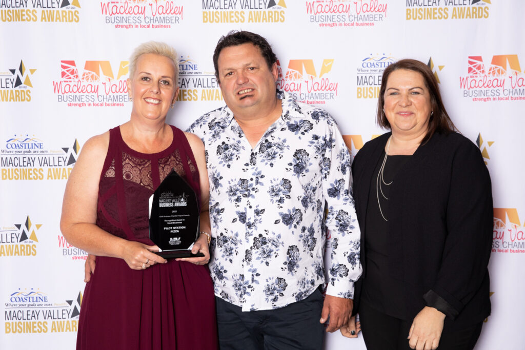 RECOGNITION IN SMALL BUSINESS: Pilot Station Pizza. Award Presented by: Amanda McDonnell, Coastline Credit Union