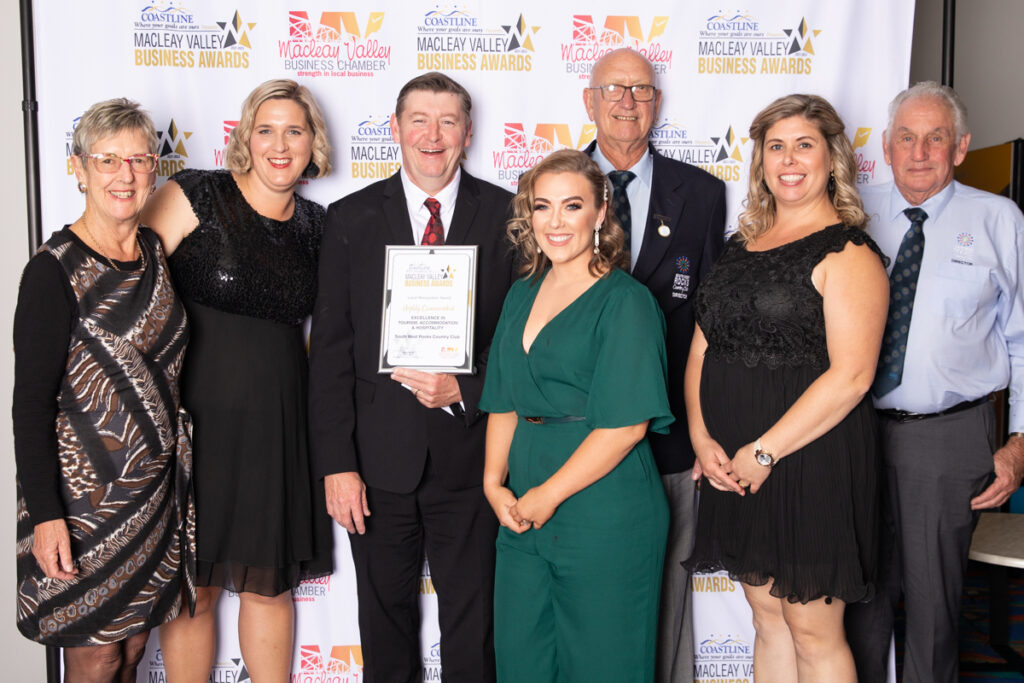 Highly Commended, EXCELLENCE IN TOURISM, ACCOMMODATION AND HOSPITALITY : South West Rocks Country ClubAward presented by: Chalyce Jackson, NBN